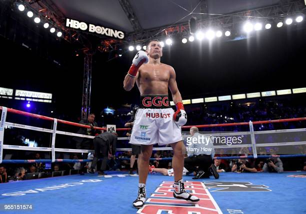 Gennady Golovkin reacts after a second round knockout of Vanes Martirosyan during the WBC-WBA Middleweight Championship at StubHub Center on May 5,...