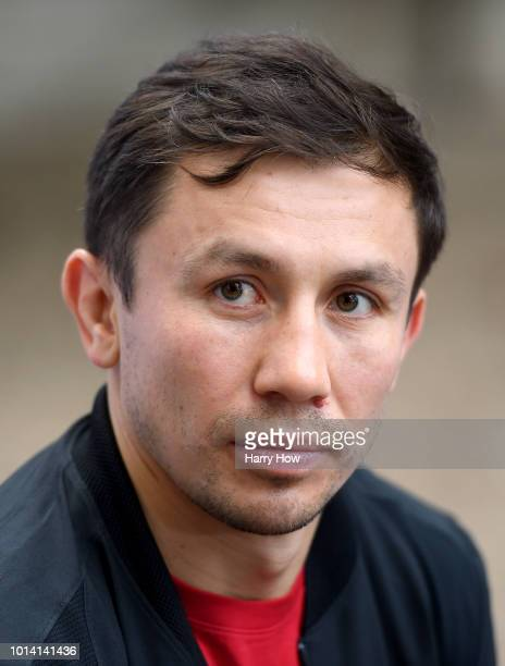 Gennady Golovkin speaks to the mediaduring a press conference at The Summitt on August 9, 2018 in Big Bear Lake, California.