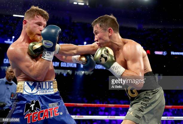 Gennady Golovkin throws a punch at Canelo Alvarez during their WBC, WBA and IBF middleweight championship bout at T-Mobile Arena on September 16,...