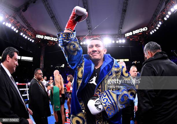 Gennady Golovkin waves to the crowd before his fight against Vanes Martirosyan in the WBCWBA Middleweight Championship at StubHub Center on May 5...
