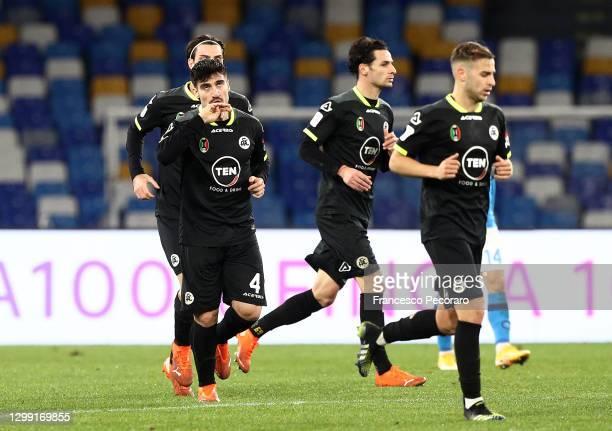 Gennaro Acampora of Spezia celebrates after scoring their team's second goal during the Coppa Italia match between SSC Napoli and Spezia Calcio at...
