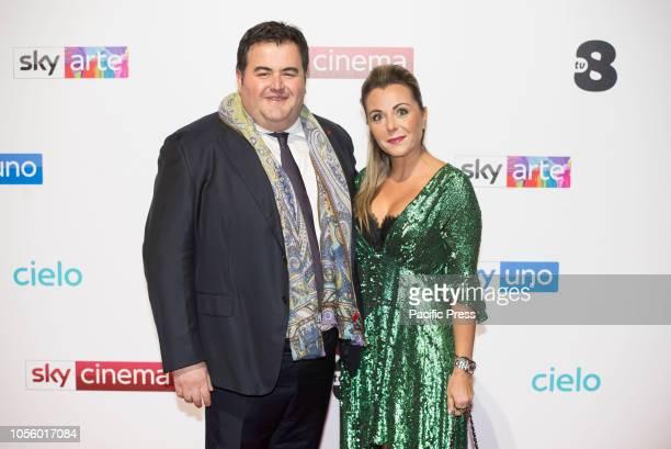 Gennaro Esposito and Ivana d'Antonio at the photocall of presentation of Sky Italia schedules
