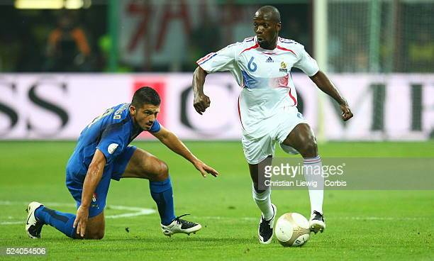 Gennaro Gattuso and Claude Makelele during the EURO 2008 qualifying soccer match between Italy and France