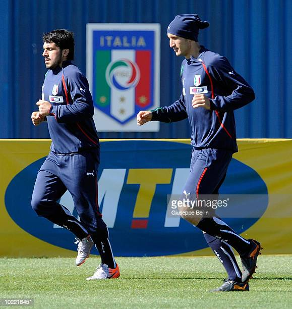 Gennaro Gattuso and Giorgio Chiellinii in action during a Italy training session for the 2010 FIFA World Cup on June 19 2010 in Centurion South Africa