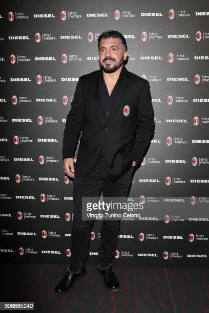 Gennaro Gattuso attends DIESEL X AC MILAN SPECIAL COLLECTION on January 18 2018 in Milan Italy
