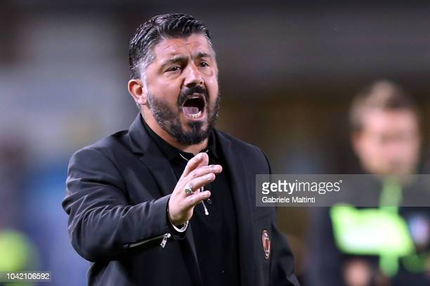 Gennaro Gattuso coach of AC Milan gestures during the serie A match between Empoli and AC Milan at Stadio Carlo Castellani on September 27 2018 in...