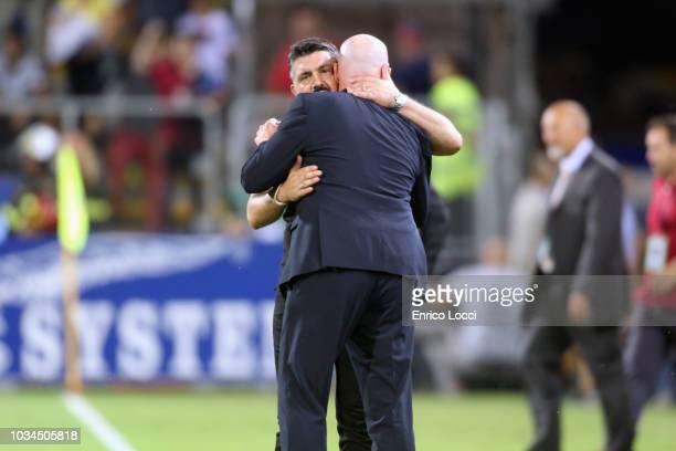 Gennaro Gattuso coach of Milan and ROlando Maran coach of Cagliari during the serie A match between Cagliari and AC Milan at Sardegna Arena on...