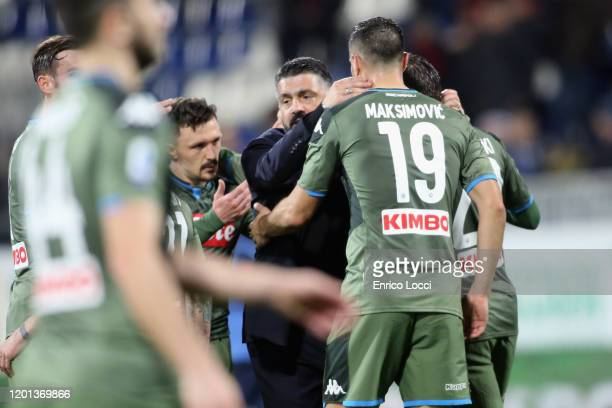 Gennaro Gattuso coach of Milan at the end of during the Serie A match between Cagliari Calcio and SSC Napoli at Sardegna Arena on February 16 2020 in...
