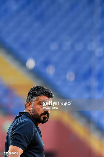 Gennaro Gattuso coach of Napoli before the Serie A match between Genoa CFC and SSC Napoli at Stadio Luigi Ferraris on July 8 2020 in Genoa Italy