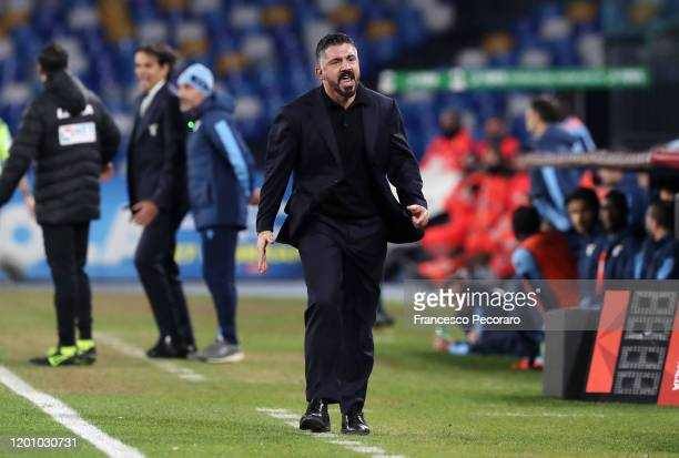 Gennaro Gattuso coach of SSC Napoli gives instructions during the Coppa Italia match between SSC Napoli and SS Lazio at Stadio San Paolo on January...