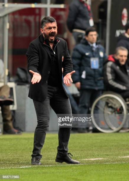 Gennaro Gattuso during Serie A match between Milan v Chievo Verona in Milan on March 18 2018