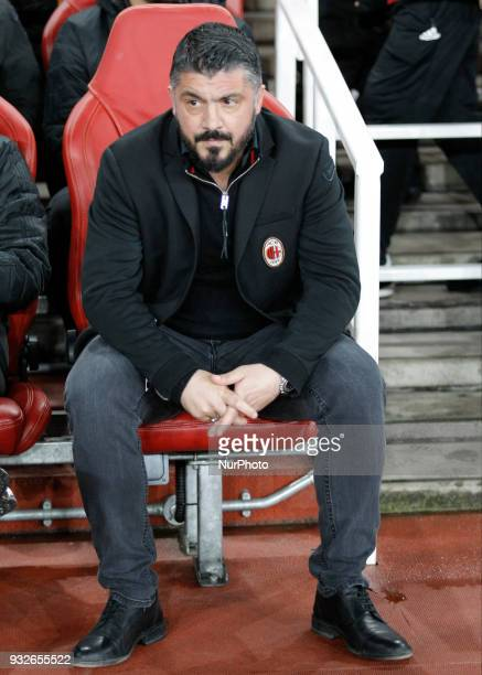 Gennaro Gattuso during the UEFA Europa League Round of 16 2nd leg match between Arsenal and AC MIian at Emirates Stadium on March 15 2018