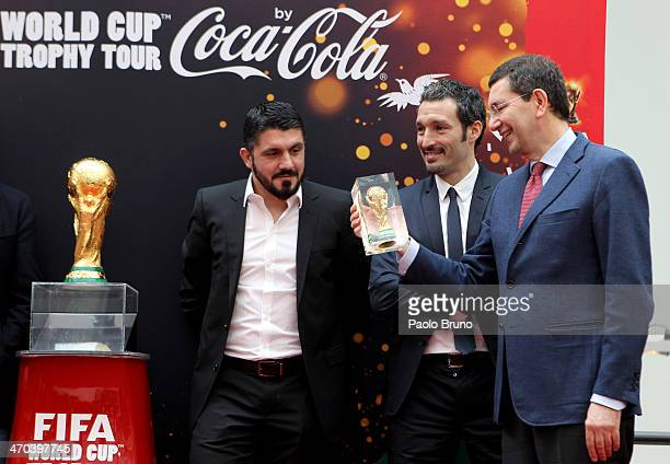 Gennaro Gattuso Gianluca Zambrotta and Mayor of Rome Ignazio Marino during day one of the FIFA World Cup Trophy Tour on February 19 2014 in Rome Italy