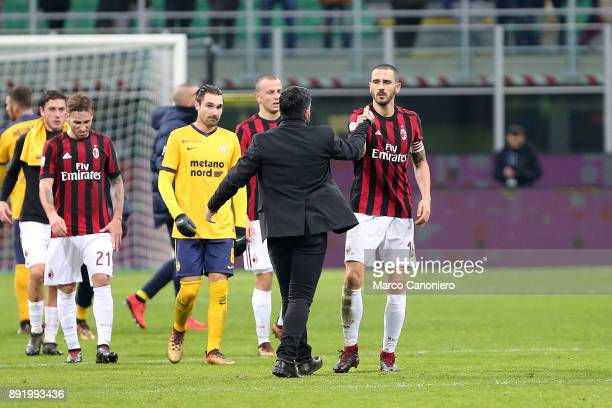 Gennaro Gattuso head coach of Ac Milan and Leonardo Bonucci at the end of the match between AC Milan and Hellas Verona Fc Ac Milan wins 30 over...
