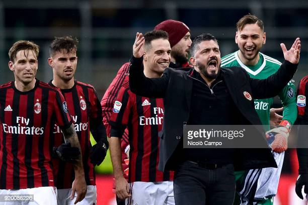 Gennaro Gattuso head coach of AC Milan and players of AC Milan celebrate the victory at the end of the Serie A football match between AC Milan and UC...