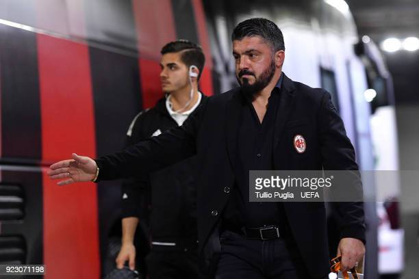 Gennaro Gattuso head coach of AC Milan arrives before the UEFA Europa League Round of 32 match between AC Milan and Ludogorets Razgrad at the San...