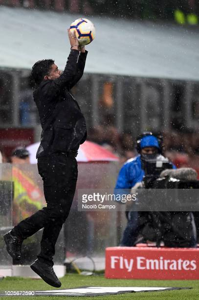 Gennaro Gattuso head coach of AC Milan catches the ball during the Serie A football match between AC Milan and AS Roma AC Milan won 21 over AS Roma
