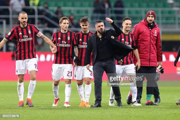Gennaro Gattuso head coach of Ac Milan celebrate at the end of the Serie A football match between AC Milan and Uc Sampdoria Ac Milan wins 10 over Uc...