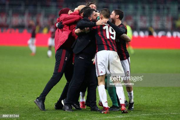 Gennaro Gattuso head coach of Ac Milan celebrate with his players at the end of Tim Cup football match between AC Milan and Fc Internazionale Ac...