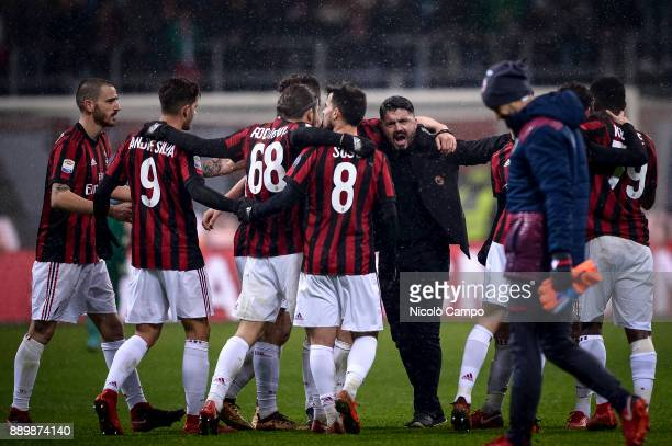 Gennaro Gattuso head coach of AC Milan celebrates the victory at the end of the Serie A football match between AC Milan and Bologna FC AC Milan won...
