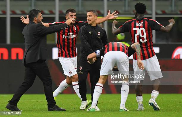Gennaro Gattuso head coach of AC Milan celebtares the victory after the serie A match between AC Milan and AS Roma at Stadio Giuseppe Meazza on...