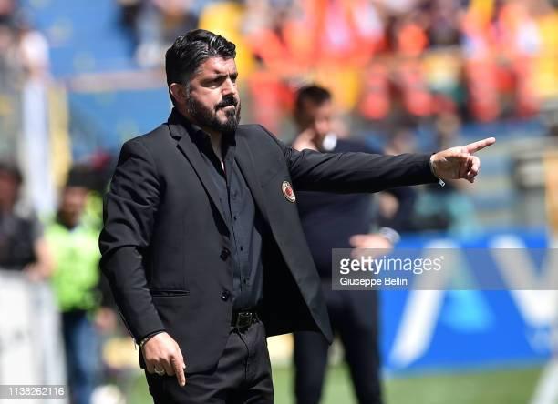 Gennaro Gattuso head coach of AC Milan during the Serie A match between Parma Calcio and AC Milan at Stadio Ennio Tardini on April 20 2019 in Parma...