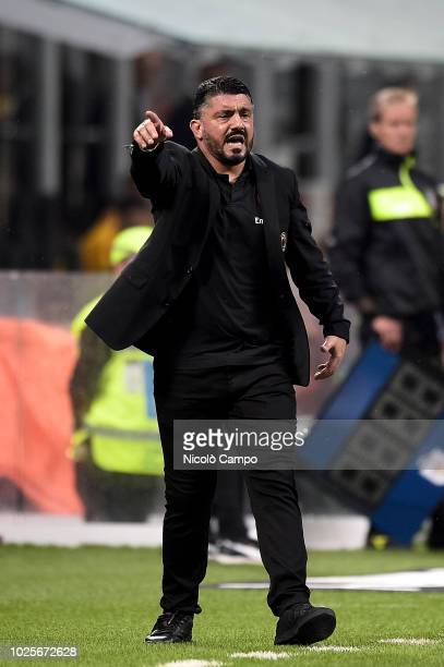 Gennaro Gattuso head coach of AC Milan gestures during the Serie A football match between AC Milan and AS Roma AC Milan won 21 over AS Roma