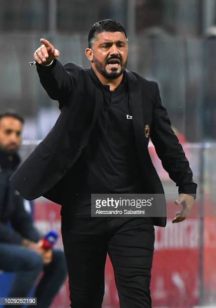 Gennaro Gattuso head coach of AC Milan gestures during the serie A match between AC Milan and AS Roma at Stadio Giuseppe Meazza on August 31 2018 in...