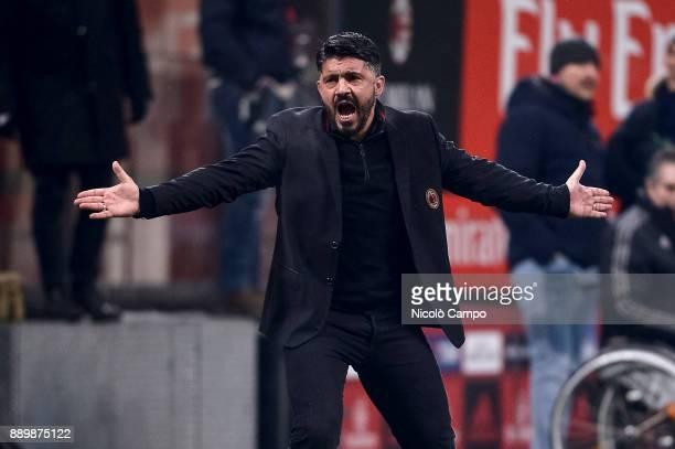 Gennaro Gattuso head coach of AC Milan gestures during the Serie A football match between AC Milan and Bologna FC AC Milan won 21 over Bologna FC