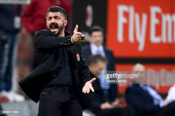 Gennaro Gattuso head coach of AC Milan gestures during the Serie A football match between AC Milan ad US Sassuolo The match ended in a 11 tie