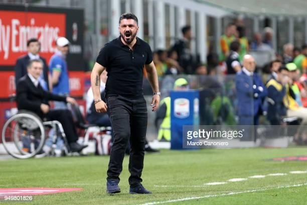 Gennaro Gattuso head coach of Ac Milan gestures during the Serie A football match between AC Milan and Benevento Calcio Benevento Calcio wins 10 over...