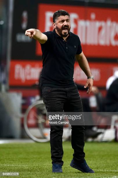 Gennaro Gattuso head coach of AC Milan gestures during the Serie A football match between AC Milan and Benevento Calcio Benevento Calcio won 10 over...