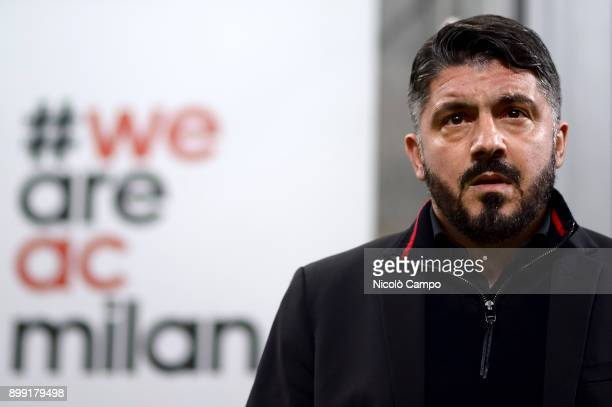 Gennaro Gattuso head coach of AC Milan look on prior to the TIM Cup football match between AC Milan and FC Internazionale AC Milan won 10 over FC...