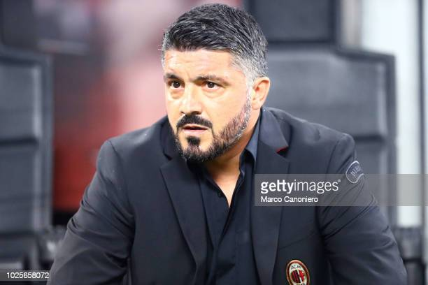 Gennaro Gattuso head coach of Ac Milan looks on before the Serie A football match between AC Milan and As Roma Ac Milan wins 21 over As Roma