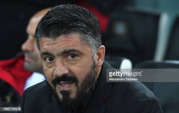 Gennaro Gattuso head coach of AC Milan looks on before the Serie A match between Udinese and AC Milan at Stadio Friuli on November 4 2018 in Udine...