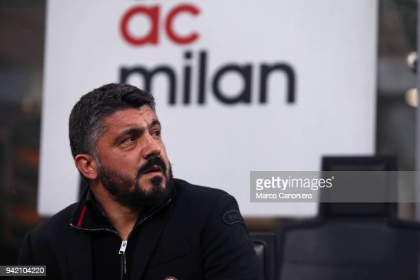Gennaro Gattuso head coach of Ac Milan looks on before the Serie A football match between AC Milan and Fc Internazionale The match ends in a tie 00