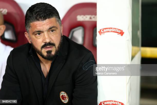 Gennaro Gattuso head coach of Ac Milan looks on before the Serie A football match between Torino Fc and Ac Milan The match end in a tie 11