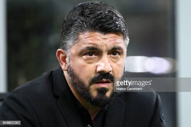 Gennaro Gattuso head coach of Ac Milan looks on before the Serie A football match between AC Milan and Benevento Calcio Benevento Calcio wins 10 over...