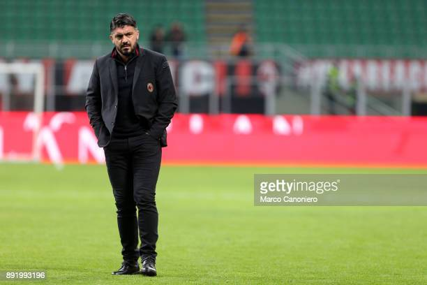 Gennaro Gattuso head coach of Ac Milan looks on before the Tim Cup football match between AC Milan and Hellas Verona Fc Ac Milan wins 30 over Hellas...