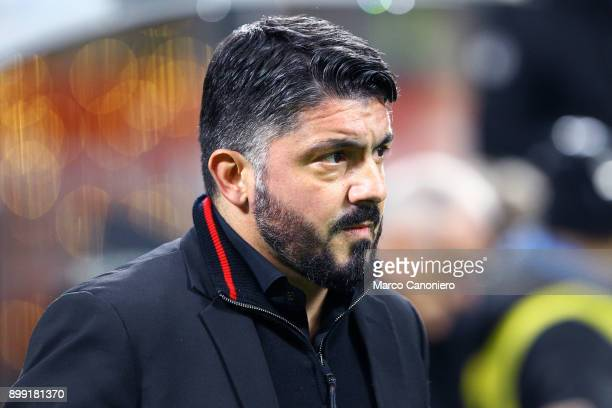Gennaro Gattuso head coach of Ac Milan looks on before the Tim Cup football match between AC Milan and Fc Internazionale Ac Milan wins 10 over Fc...