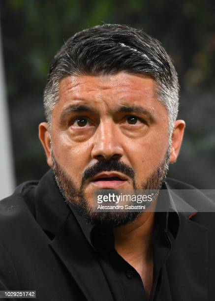 Gennaro Gattuso head coach of AC Milan looks on during the serie A match between AC Milan and AS Roma at Stadio Giuseppe Meazza on August 31 2018 in...