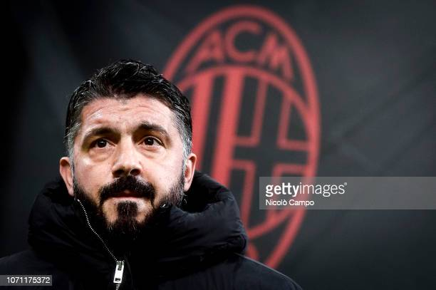 Gennaro Gattuso head coach of AC Milan looks on prior to the Serie A football match between AC Milan and Torino FC The match ended in a 00 tie