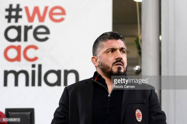 Gennaro Gattuso head coach of AC Milan looks on prior to the Serie A football match between AC Milan and UC Sampdoria AC Milan won 10 over UC...