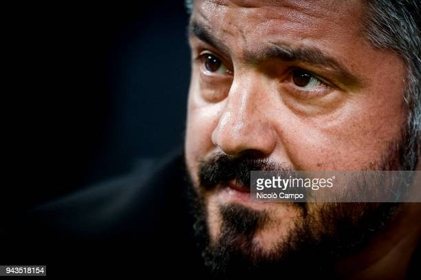 Gennaro Gattuso head coach of AC Milan looks on prior to the Serie A football match between AC Milan ad US Sassuolo The match ended in a 11 tie