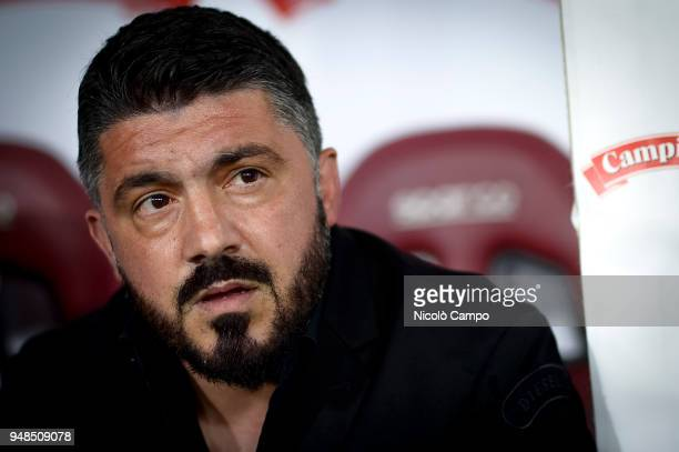 Gennaro Gattuso head coach of AC Milan looks on prior to the Serie A football match between Torino FC and AC Milan The match ended in a 11 tie