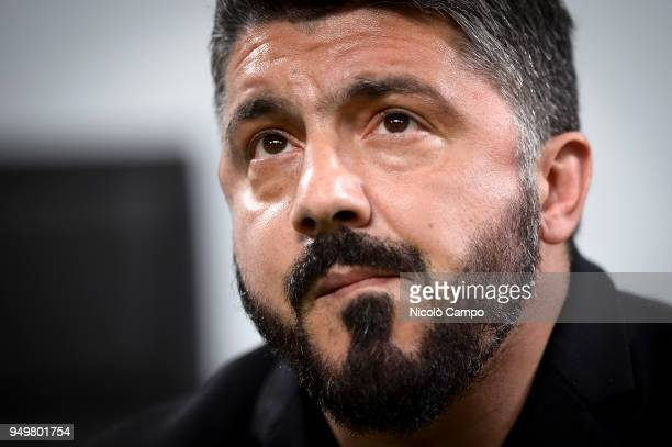 Gennaro Gattuso head coach of AC Milan looks on prior to the Serie A football match between AC Milan and Benevento Calcio Benevento Calcio won 10...