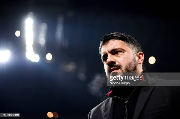 Gennaro Gattuso head coach of AC Milan looks on prior to the TIM Cup football match between AC Milan and Hellas Verona AC Milan won 30 over Hellas...