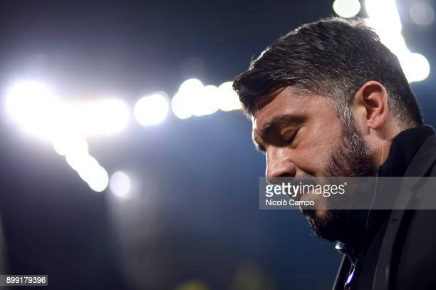 Gennaro Gattuso head coach of AC Milan looks on prior to the TIM Cup football match between AC Milan and FC Internazionale AC Milan won 10 over FC...
