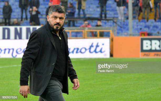 Gennaro Gattuso head coach of Milan during the serie A match between Genoa CFC and AC Milan at Stadio Luigi Ferraris on March 11 2018 in Genoa Italy