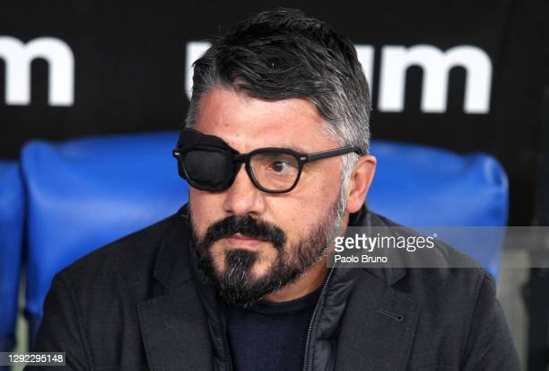 Gennaro Gattuso, head coach of Napoli looks on during the Serie A match between SS Lazio and SSC Napoli at Stadio Olimpico on December 20, 2020 in...